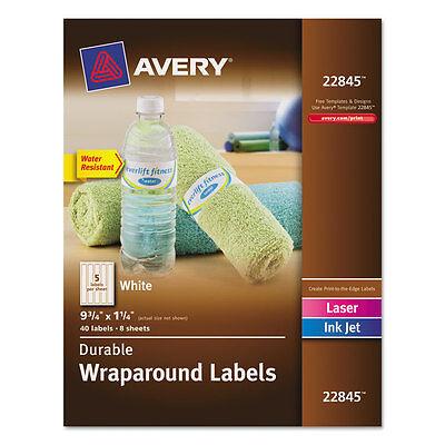 Avery Durable Wraparound Printer Labels 9 34 X 1 14 White 40pack
