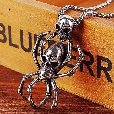 Men Retro Punk Skull Spider Stainless Steel Antique Silver Pendant Necklace ()