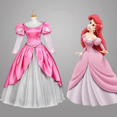 The Little Mermaid Ariel Disney Princess Cosplay Kostüm Abend-kleid lang long