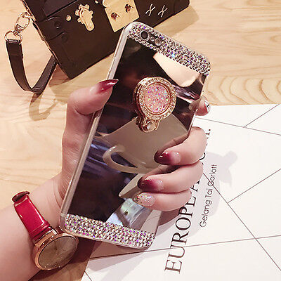 Luxury Electroplated Mirror Surface Phone Case Cover With Ring Holder For Oppo