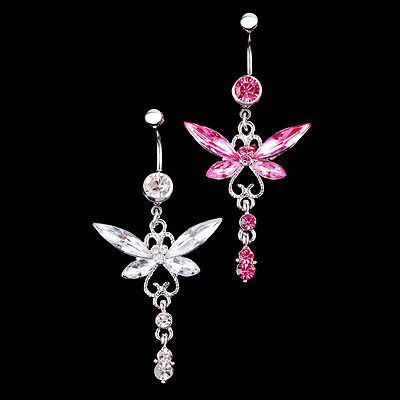 - New Crystal Butterfly Dangle Ball Button Barbell Belly Navel Ring Body Piercing