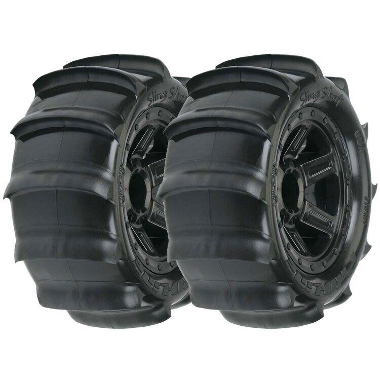 Pro-Line 1/16 Sling Shot 2.2 Paddle Tires on Desperado Wheels 1/16 E-Revo Summit