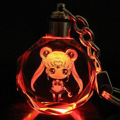 Moon Key - Sailor Moon Usagi Tsukin Crystal Key Chain LED Pendant Keyring New in gift Box