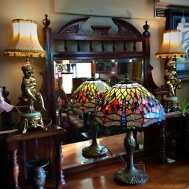 Pair of brass and Onyx Cherub Lamps