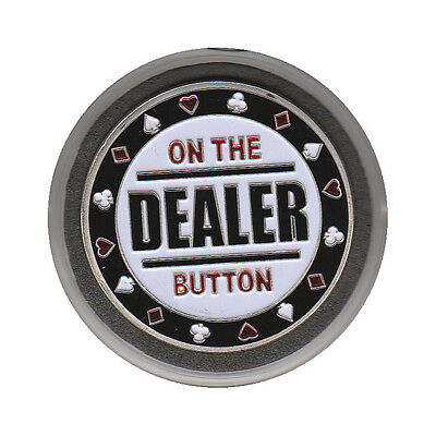 - NEW Dealer - On The Button Poker Card Guard *SILVER*
