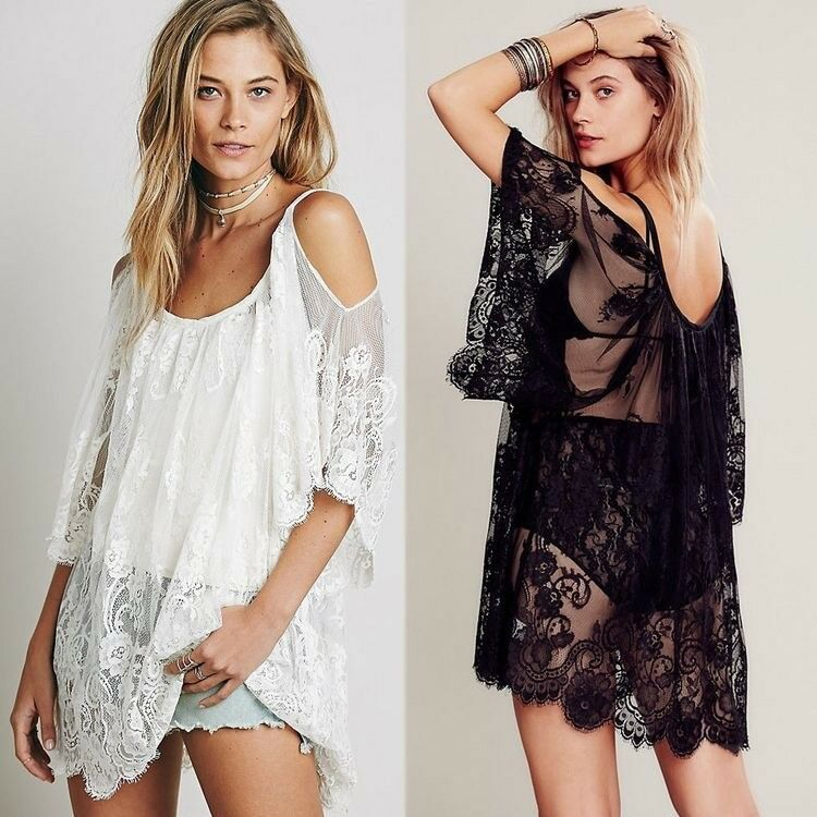 Women's Bathing Suit Cover up, Beach Bikini Swimsuit,Off-Shoulder Lace Swimwear Clothing, Shoes & Accessories