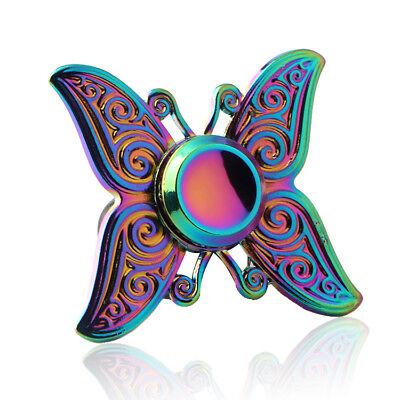 3D Rainbow Butterfly Figet Fidget Finger Tri-Spinner Hand Focus ADHD Anti Stress