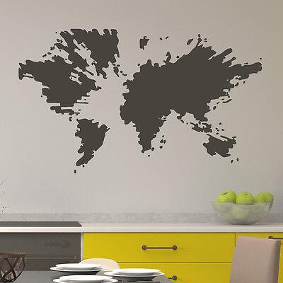 Splash Welt Weltkarte Aufkleber Wall Art Wand Tattoo #2152 (Splash Tattoo)