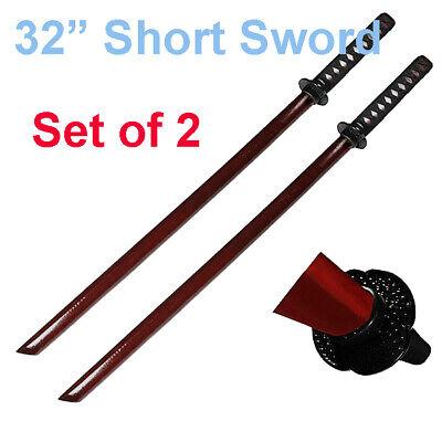Set of 2 32'' Burgundy Red Bokken Daito Wooden Practice Training Short Sword