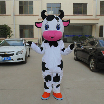 Halloween Cow Mascot Costume Animal Party Dress Outfit Adult Suit Cosplay UK](Animal Halloween Costumes Uk)