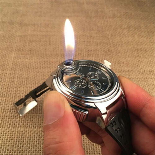 Mens Watches Butane Big Cigarette Cigar Lighter Refillable Black Wrist Watch #UK