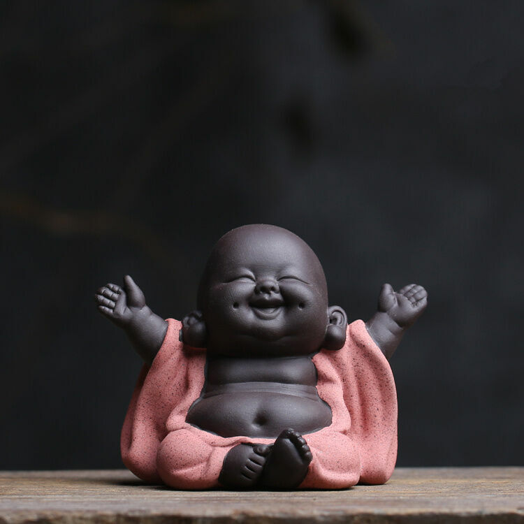 Chinese Buddha happy monk yixing zisha tea pet ornament handmade desk decoration