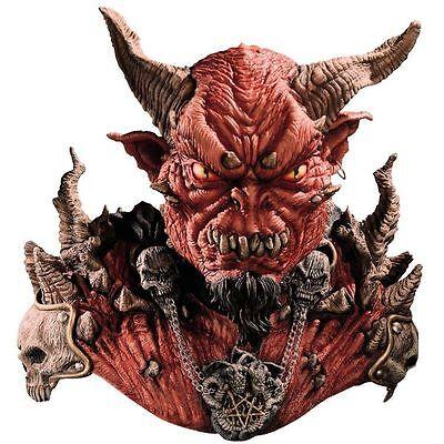 Halloween Costume EL DIABLO WITH HORNS DEVIL LATEX DELUXE MASK & SHOULDERS NEW - Diablo Halloween