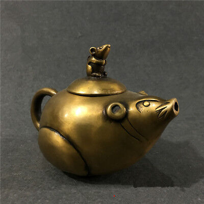 China antique bronze hand made dragon teapot wine pot flagon teaset