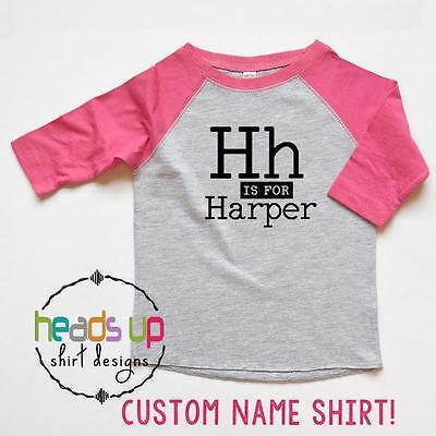 Custom Name Shirt Boy/Girl Personalized Raglan tshirt Alphabet Trendy Gift Baby