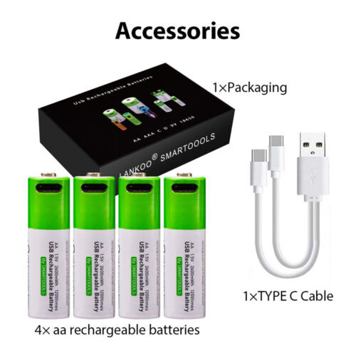 Pack of Rechargeable AA/AAA/C/D/9V Lithium Ion Batteries USB C 1.5V
