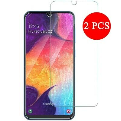 2 Display Handy (2X Panzer Glasfolie Samsung Galaxy A50 Display Schutz Folie Glas Full Screen 9H)