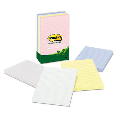 Post-it Recycled Note Pads Lined 4 X 6 Assorted Helsinki Colors 100-sheet 5pack