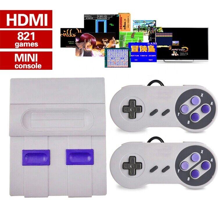 Super Mini HDMI Retro Video Game Console 8Bit Built-in 821 Games 2 Controllers
