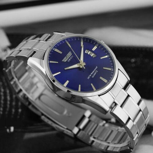 New Men's Watch Stainless Steel Band Date Analog Quartz Sport Wrist Watch Army