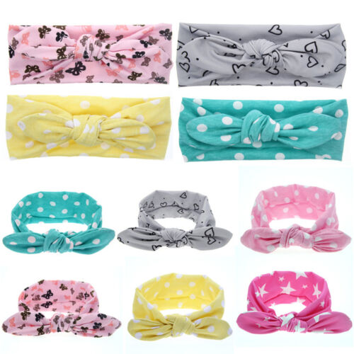 Newborn Baby Kids Girls Print Dot Rabbit Ears Hairband Turban Bow Knot Headband