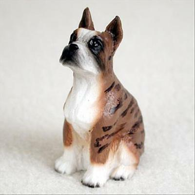 Boxer Brindle Cropped Ears Dog Tiny One Miniature Small Hand Painted Figurine