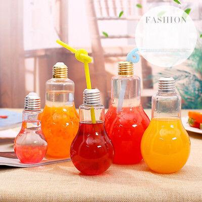 Creative Bulb Water Bottle Clear Cute Milk Juice Light Bulbs Cup Leak-proof Mug (Plastic Water Bottles)