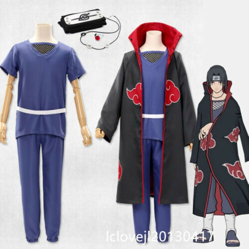 2020 Cosplay Anime Akatsuki Itachi Uchiha Deluxe Halloween Cloak Full Set