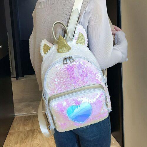 Unicorn Glitter Bling Backpack Women Girls Shoulder Bag Scho