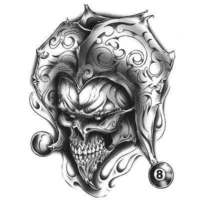 Urban Realistic Temporary Tattoo, Joker Skull & 8 Ball, Made in USA, Big Tattoos