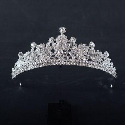 Tiara Cristal Perlas Cabello de Novia Estrás Diadema Corona Concursos Belleza