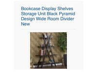 Bookcase Display Shelves Storage Unit Black Pyramid Design Wide Room Divider