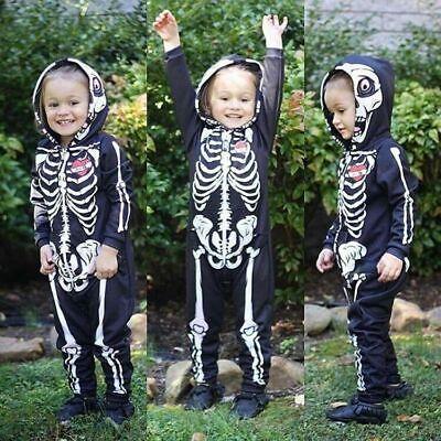 Baby Skelett Overall Kostüm für Kinder Karneval Fasching Halloween Cosplay DE