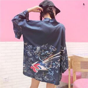 8-10-Mujer-Chino-Japones-Oriental-Kimono-Estilo-Flor-Pajaros-Top-ltop5