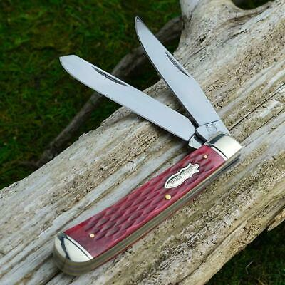 Rough Rider Red Jigged Bone Trapper Pocket Knife RR266
