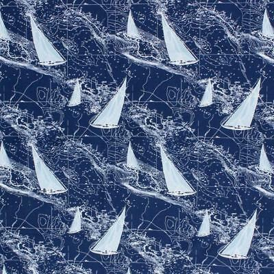 2 Yds Nautical Boat Sail Ship Yacht Map Navy Blue White Drapery Upholstery IL10
