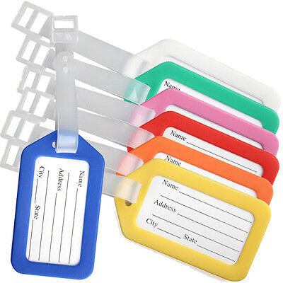 10PC Travel Luggage Bag Plastic Tags Name ID Cards Travel Bag Suitcase Label Hot