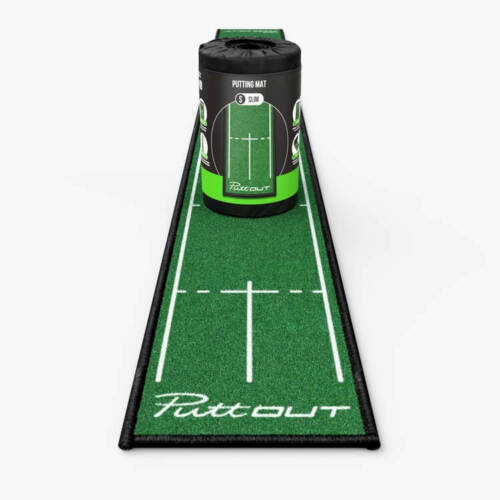 PuttOUT Slim Pro Putting Mat Golf Training Aid Green & White Free Delivery