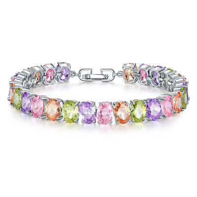 - Multicolor Topaz Silver Fashion Womens Jewelry Charm Bracelet 7 1/2