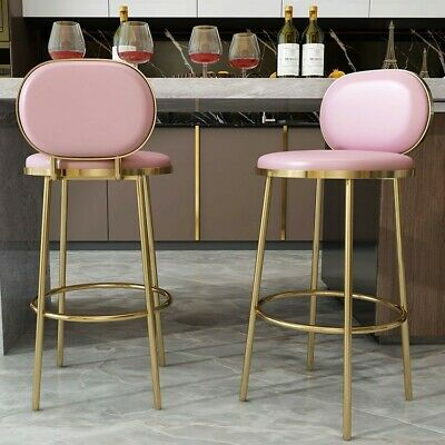 Homary Counter Height Bar Stool Round Counter Stool Chair Back Pink Faux -