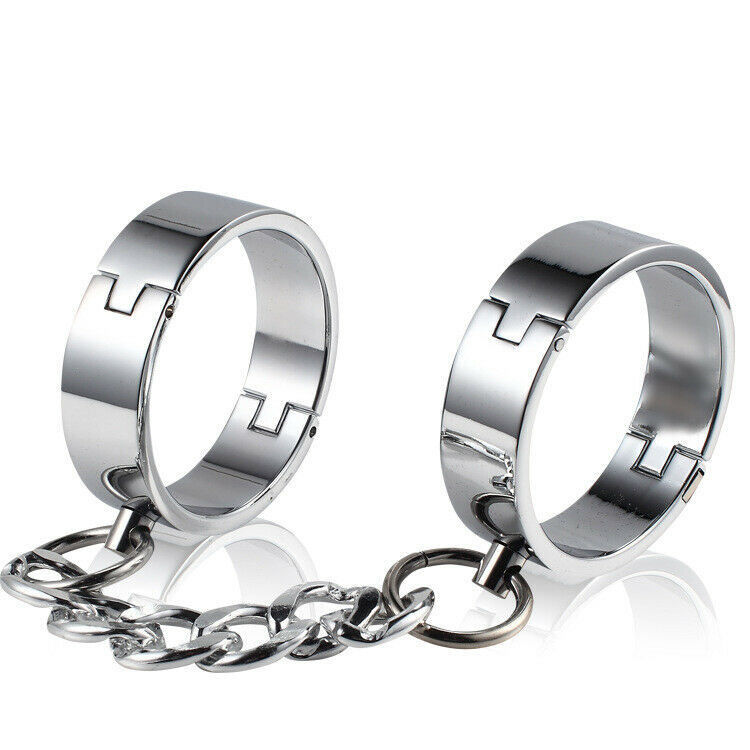 Restraitnt Slave Stainless Steel Toe To Toe Cuffs Pin Locked Shackles Manacles
