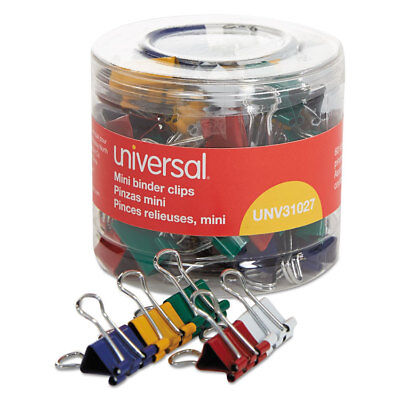 Universal Mini Binder Clips 14 Capacity 12 Wide Assorted Colors 60pack