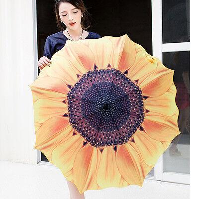 US Women Folding Umbrella Compact Sunflower Travel Anti UV Rain Sun Portable