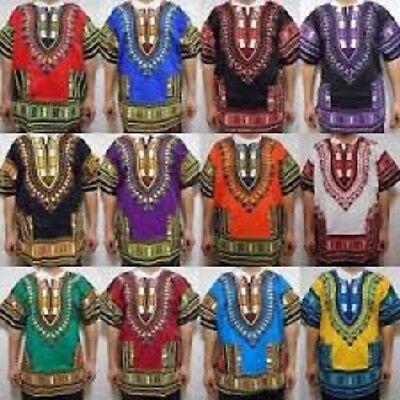 - Dashiki Men Shirt African Hippie Vintage Women Top Haute Tribal Blouse One Size