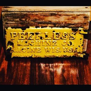 PEERLESS MACHINE COMPANY CAST IRON VINTAGE ADVERTISING SIGN $60