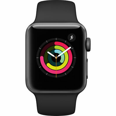 NEW APPLE WATCH SERIES 3 38MM SPACE GRAY ALUMINUM BLACK SPORT BAND MTF02LL/A