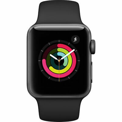 NEW APPLE WATCH SERIES 3 38MM Lacuna GRAY ALUMINUM CASE Frowning SPORT BAND MTF02LLA
