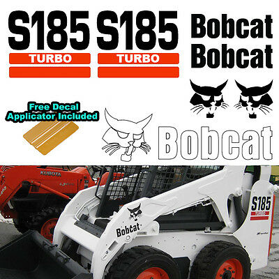 Bobcat S185 Turbo Skid Steer Set Vinyl Decal Sticker 7 Pc Set Decal Applicator
