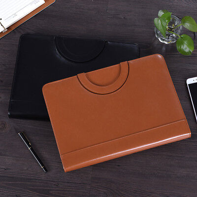 Zipper Pu Leather Business Portfolio A4 File Clip Folder Document Organizer