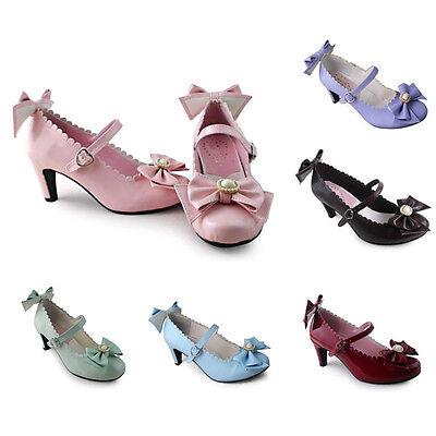 Kostüm Ballerina Schuhe (Sweet Lolita Rokoko Barock Bow Damenschuhe Pumps Ballerinas Halbschuhe Kostüm)